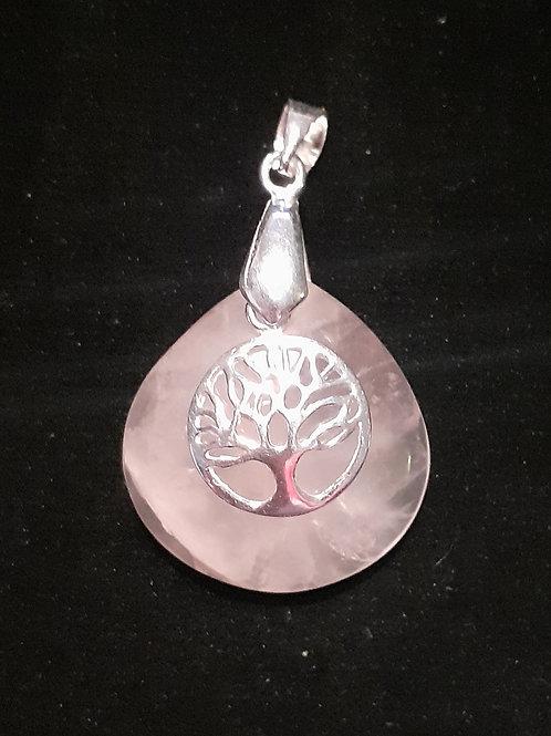 Quartz Rose et arbre de vie en pendentif