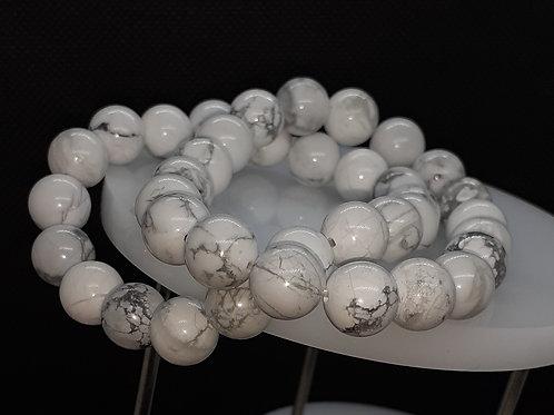 Howlite ou magnésite, bracelet 10 mm