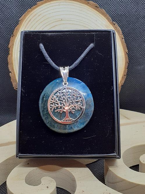 Apatite et grand arbre de vie, pendentif argent 925