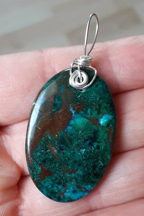 Malachite Chrysocolle, pendentif