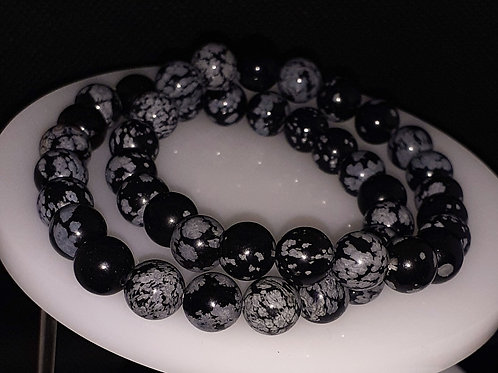 Obsidienne flocons de neige, bracelet 8 mm