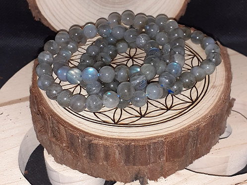 Labradorite, Bracelet perle 8 mm, top qualité