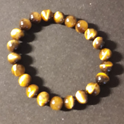 Oeil de tigre, Bracelet Boule 8 mm