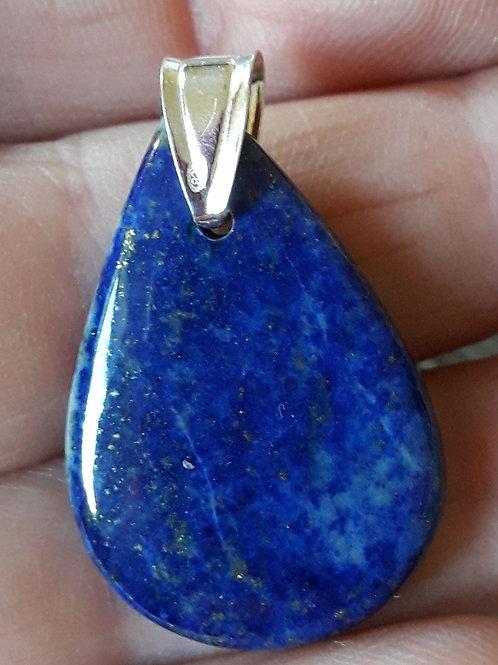 Lapis lazuli, pendentif bélière argent 950