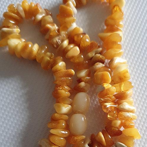 Collier de pépites d'ambre 45 cm pour adulte