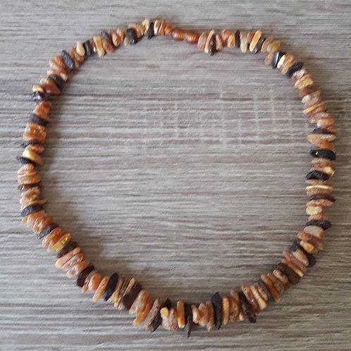Collier de pépites d'ambre brut 47 cm pour adulte
