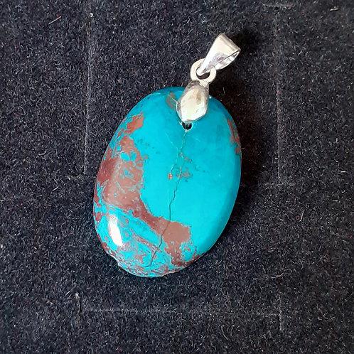 Pendentif en Turquoise du Mexique, bélière en argent 925