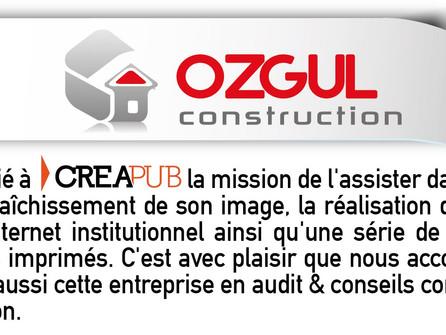 Conseil, accompagnement, site WEB et divers imprimés pour OZGUL construction.