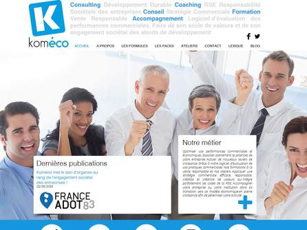 Dernier site réalisé par CréaPUB pour Koméco PACA, formation commerciale, sociétale et environnement