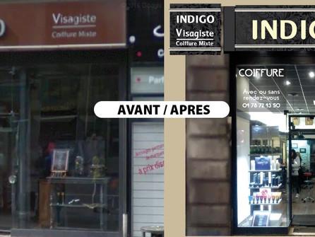 Restauration de devanture Lyon 7 par CréaPUB pour Indigo coiffure.