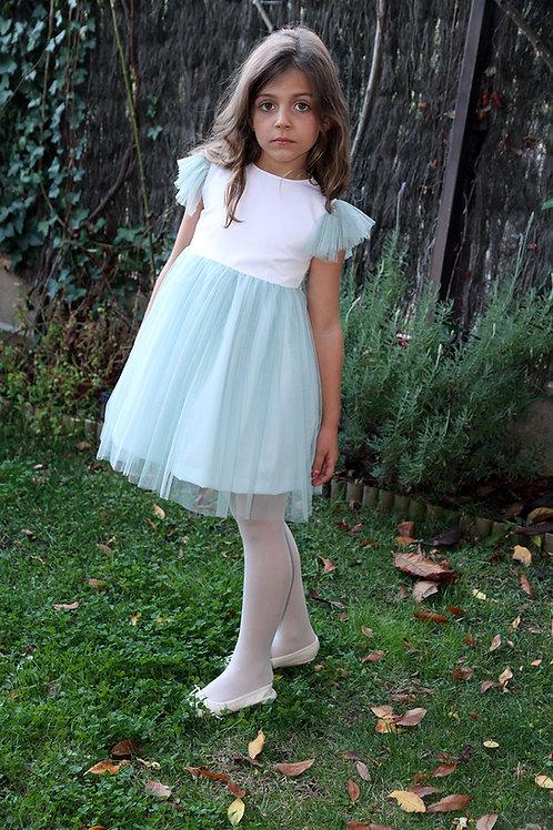 Traje de arras C16110 - vestido de piqué y tul