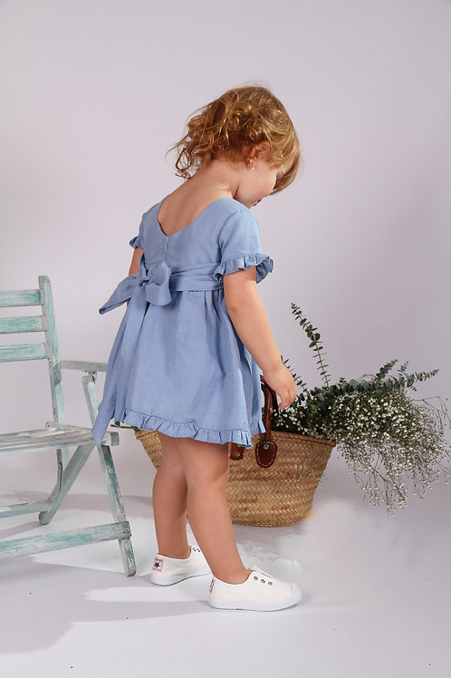 Vestido Rose Lino Azul