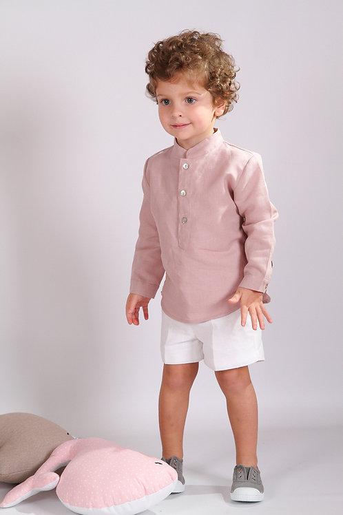 Camisa Manchega lino rosa nude