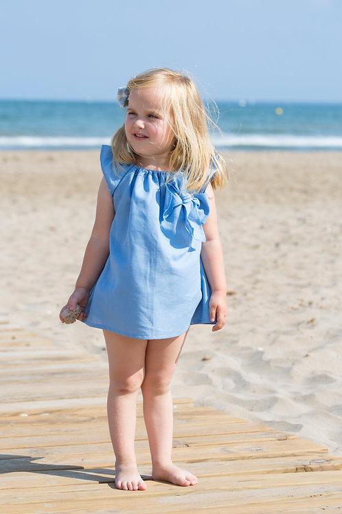 Vestido Calandra lino azul
