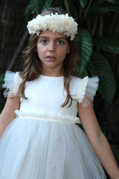 Traje de arras C16103 - vestido de tul y lino
