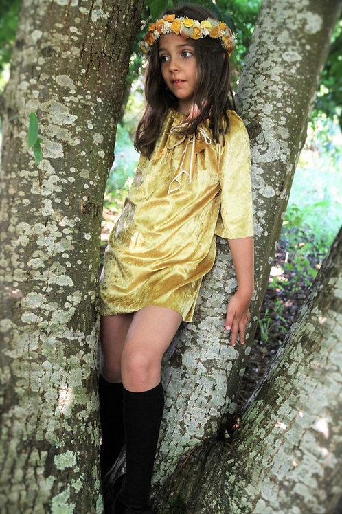Vestido Calandra terciopelo mostaza