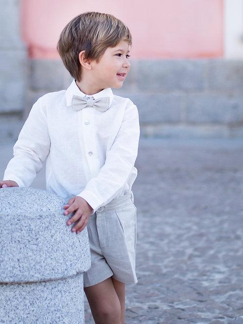 Niño de arras 3 piezas bermuda (short+camisa+pajarita)