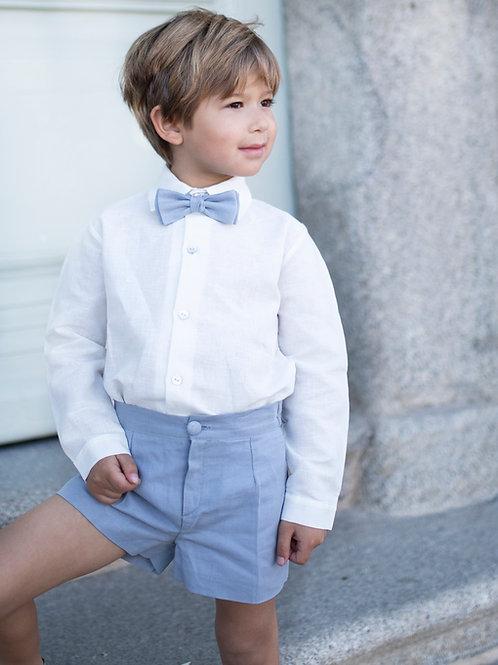 Niño de arras 3 piezas bermuda azul (short+camisa+pajarita)