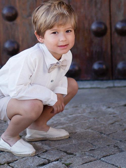 Niño de arras 3 piezas bermuda camel (short+camisa+pajarita)