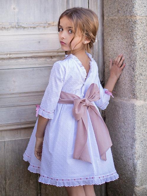 Vestido plumeti espalda V rosa