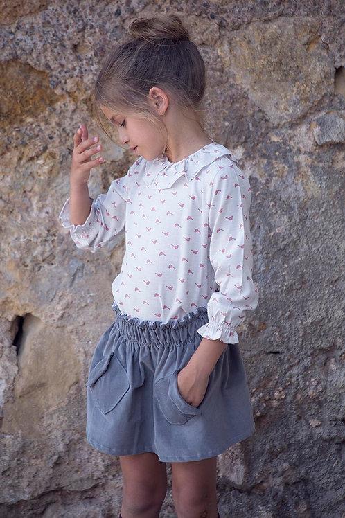 Falda bolsillos gris