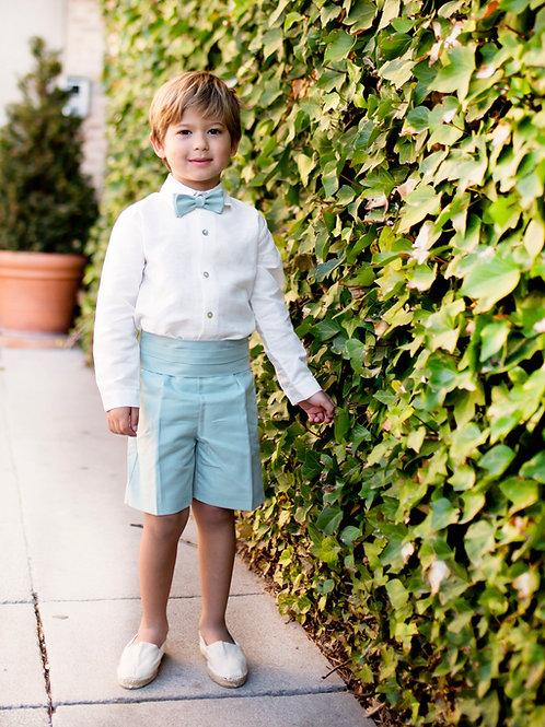 Niño de arras 4 piezas bermuda (short+camisa+fajin+pajarita)