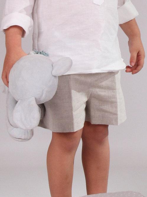 Pantalón corto lino arena