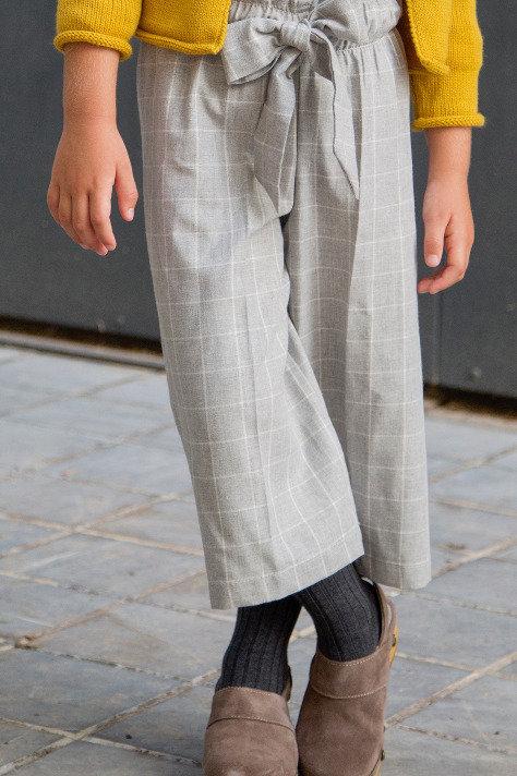 Pantalón MIDI cuadro gris