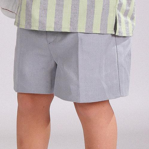 Pantalón corto lino gris