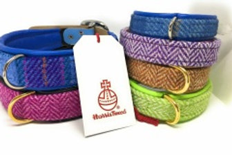 Harris Tweed and Leather Buckle Collars