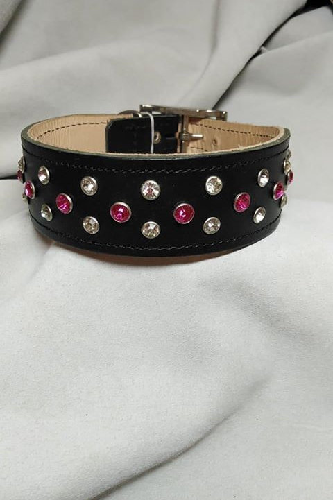 "Black Crystal riveted collar - 14"" - 16"""