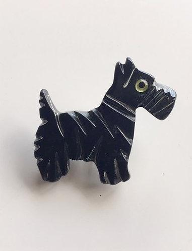 Bakelite Black Scottish Terrier Dog Brooch
