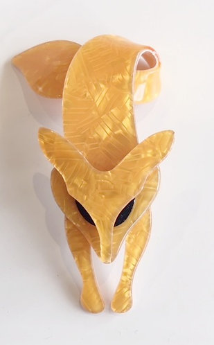 Lea Stein Paris- Fox Brooch  - Pearly Mustard
