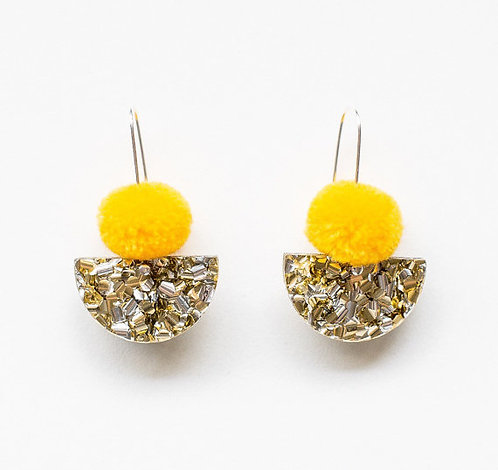Each To Own- Pom Scallop Drop Earrings - Yellow Pom Pom & Gold Lush Glitter