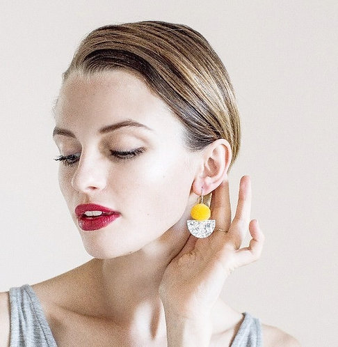Each To Own- Pom Scallop Drop Earrings - Yellow Pom Pom & Silver Lush Glitter