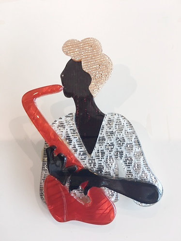 Lea Stein Black Saxophone Lady