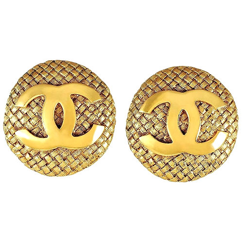 Chanel Gold Quilted CC Button Earrings