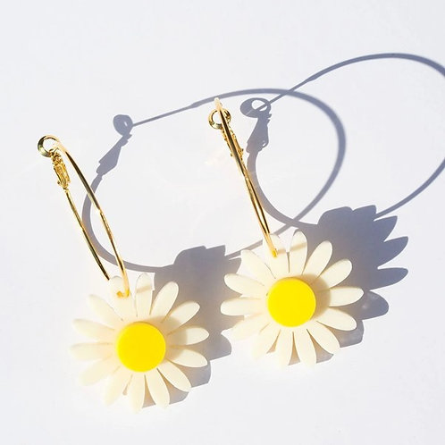 Emeldo- Daisy Earrings Cream & Yellow