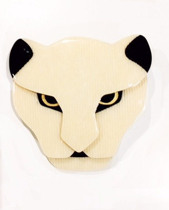 Lea Stein Jaguar Head Brooch