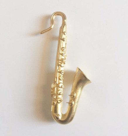 Vintage KJL Kenneth Jay Lane Signed- Brooch Saxophone Musical Instrument
