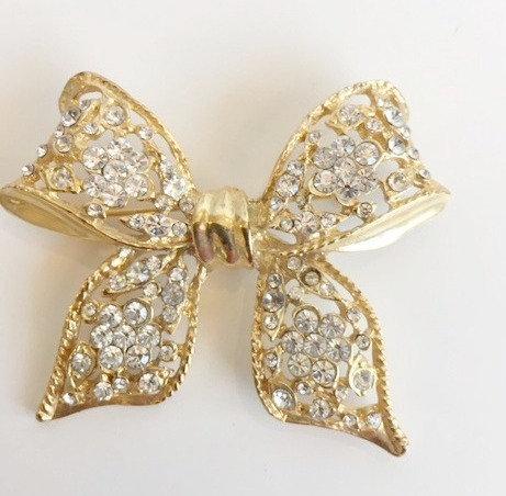 Gold Rhinestone Bow Brooch