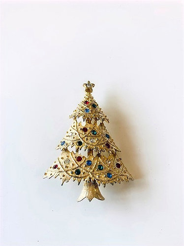 Eisenberg Ice -Christmas Tree Brooch Gold