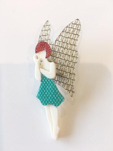 """Lea Stein Fairy Brooch. """"Voltige"""", Green Metallic Dress/Gold Wings"""
