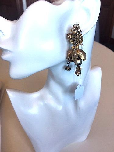 Miriam Haskell- Vintage Dangling Baroque Pearls & Rhinestones Earrings