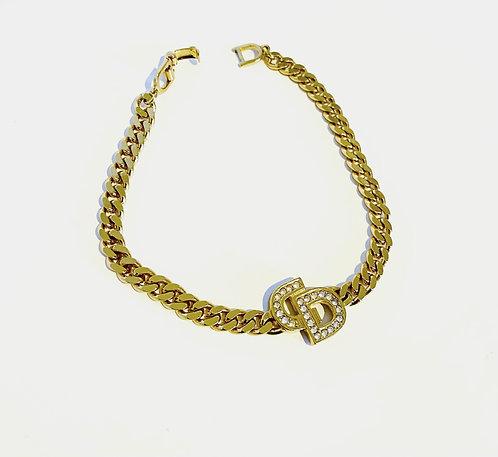 Christian Dior Gold Plated Rhinestones Logo Chain Bracelet
