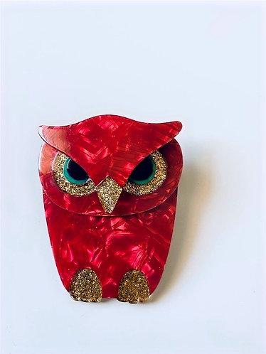 """Lea Stein """"BOUBA"""" Owl Brooch"""