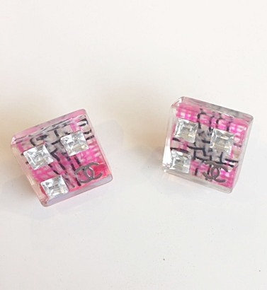 Chanel Pink Tweed Square Earrings- 2014 Season