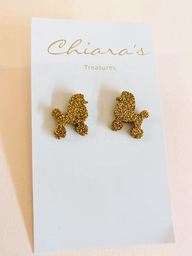 Chiara's Treasures- Gold Glitter Poddle Studs