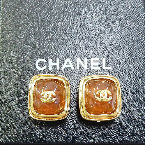 Vintage Chanel Gold Plated CC - Square Clip on Earrings