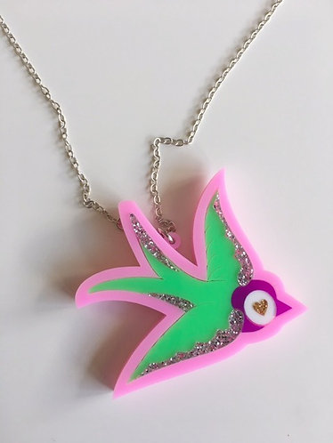 Steven Shein Glitter Pink Sparrow Pendant Silver Necklace
